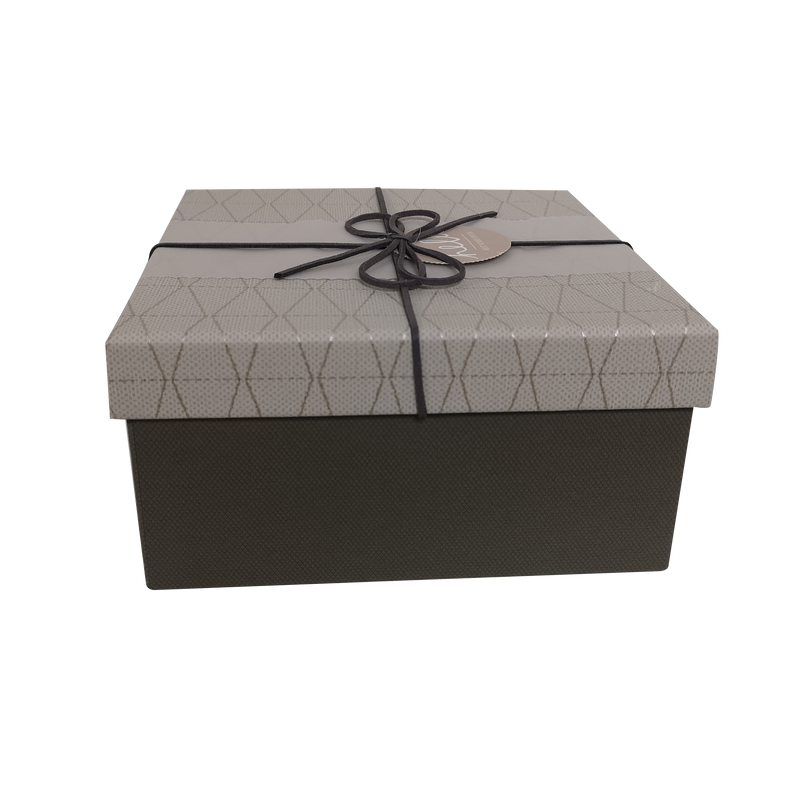 Square Rigid Geometric Pattern Gift Box With Ribbon & Sleeve