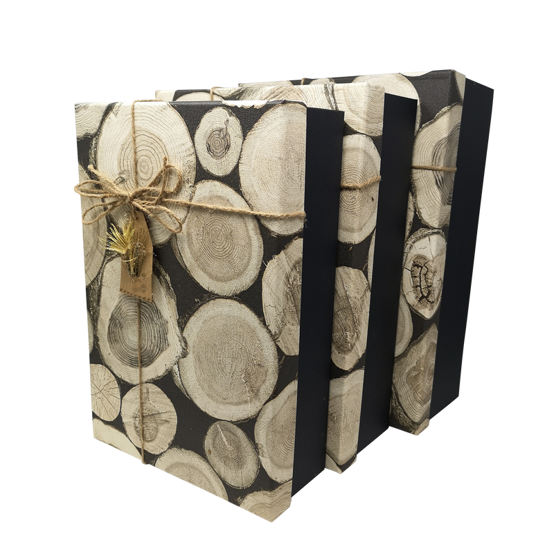 Rustic Wood Effect Rigid Gift Box with Ribbon and Bow