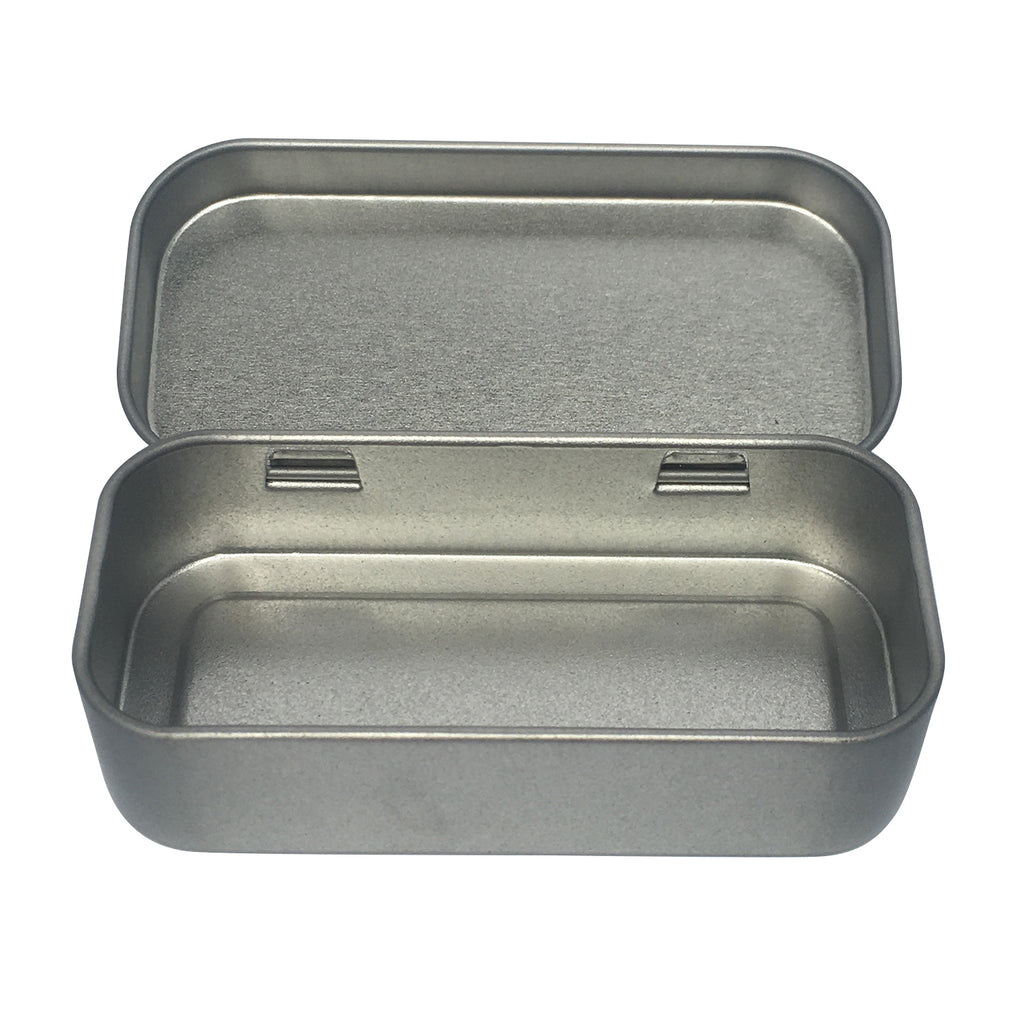 Sample of 100pcs Silver Stock Rectangular Gift Tin Box With Hinged Lid/ Item Ref: RMTB0006