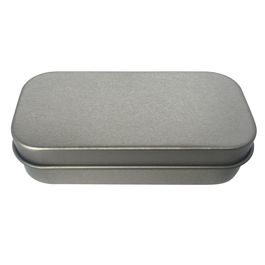 100pcs Silver Stock Rectangular Gift Tin Box With Hinged Lid/ Item Ref: RMTB0006