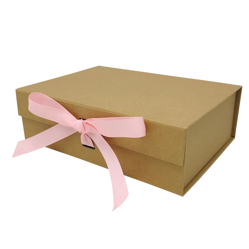 A4 Size Natural Kraft Folding Magnetic Gift Box with Ribbon