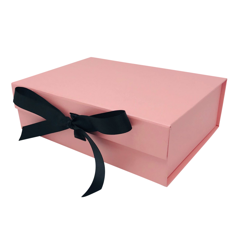 A4 Size Pink Folding Magnetic Gift Box with Ribbon