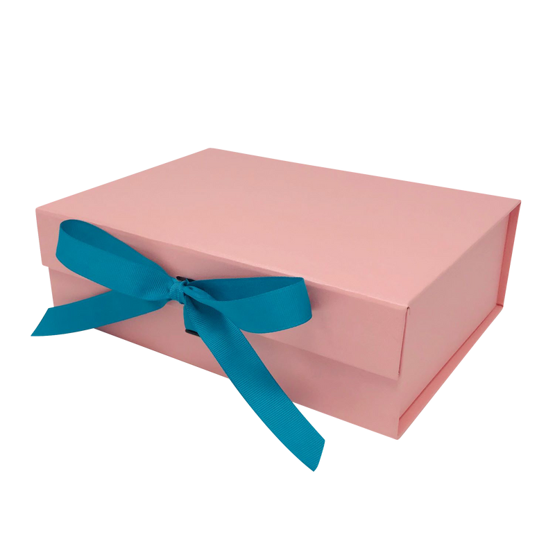 A5 Size Pink Folding Magnetic Gift Box with Ribbon