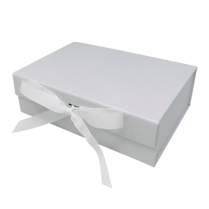 A4 Size White Folding Magnetic Gift Box with Ribbon