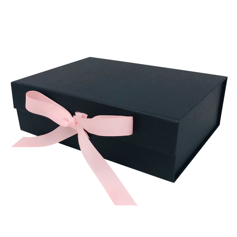 A4 Size Black Folding Magnetic Gift Box with Ribbon