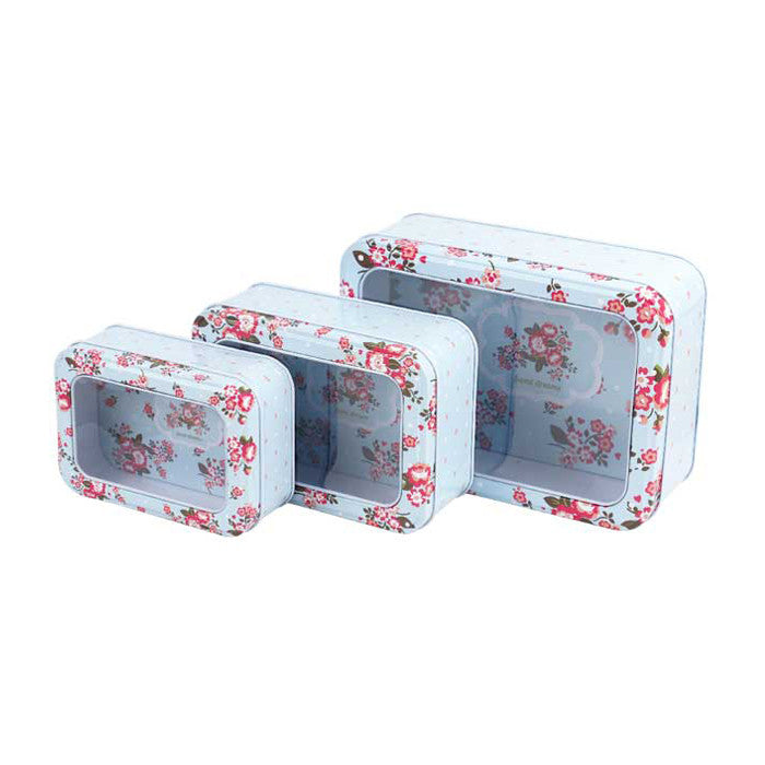Rectangular Window Lid Stackable Storage Tin - Set of 3 - Ld Packagingmall
