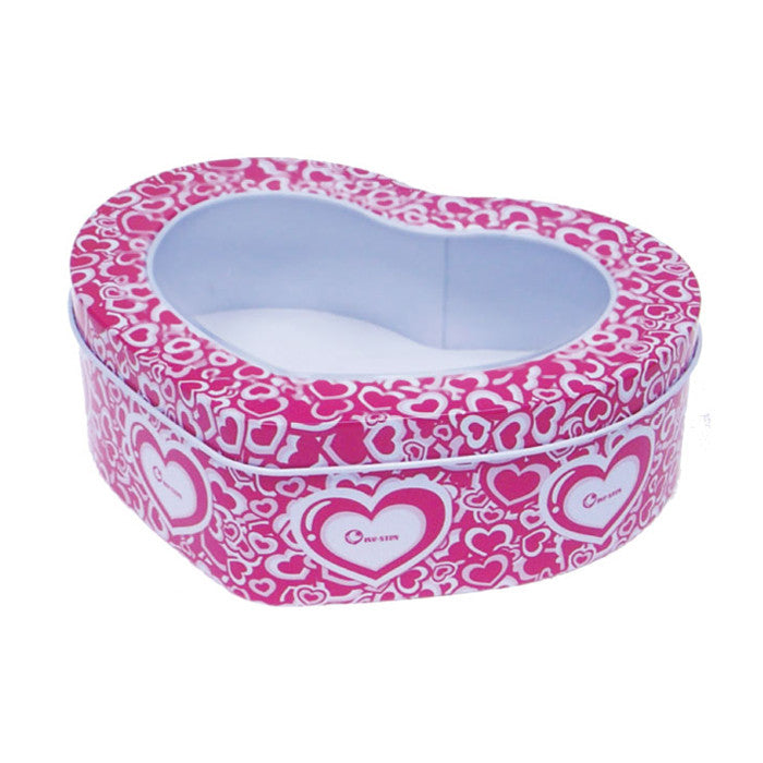 Heart Shaped Window Lid Storage Tin