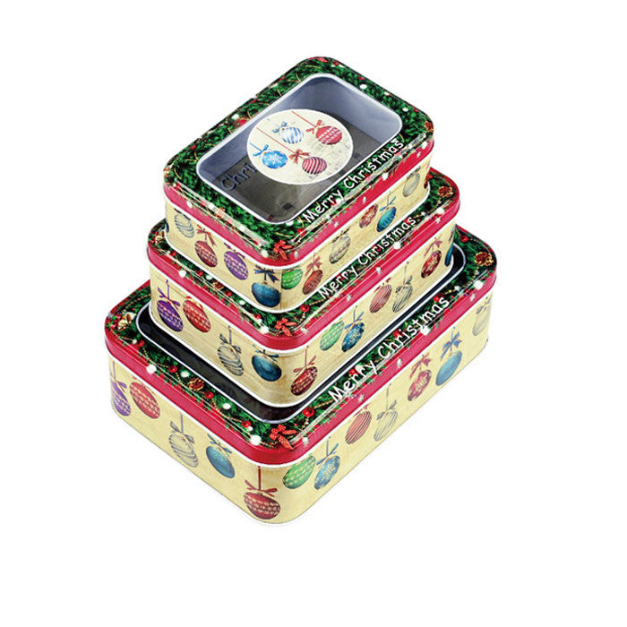 Rectangular Window Lid Christmas Gifts Stackable Storage Tin - Set of 3 - Ld Packagingmall