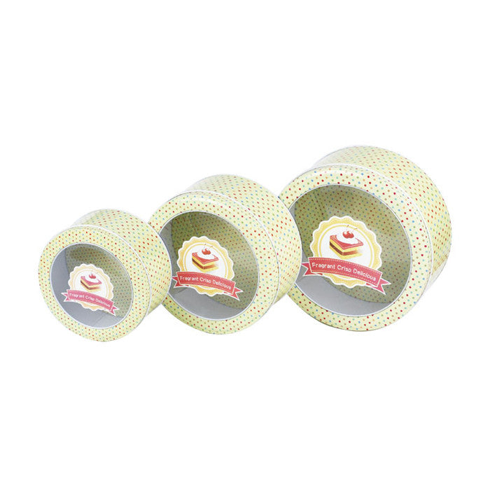 Round Window Lid Stackable Storage Tin - Set of 3 - Ld Packagingmall