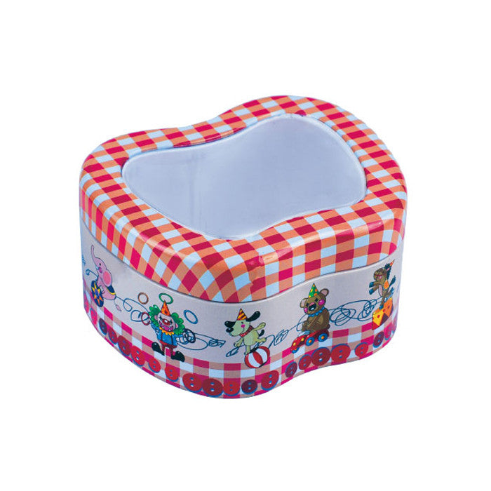 Apple Shaped Slip Lid with Window Storage Tin