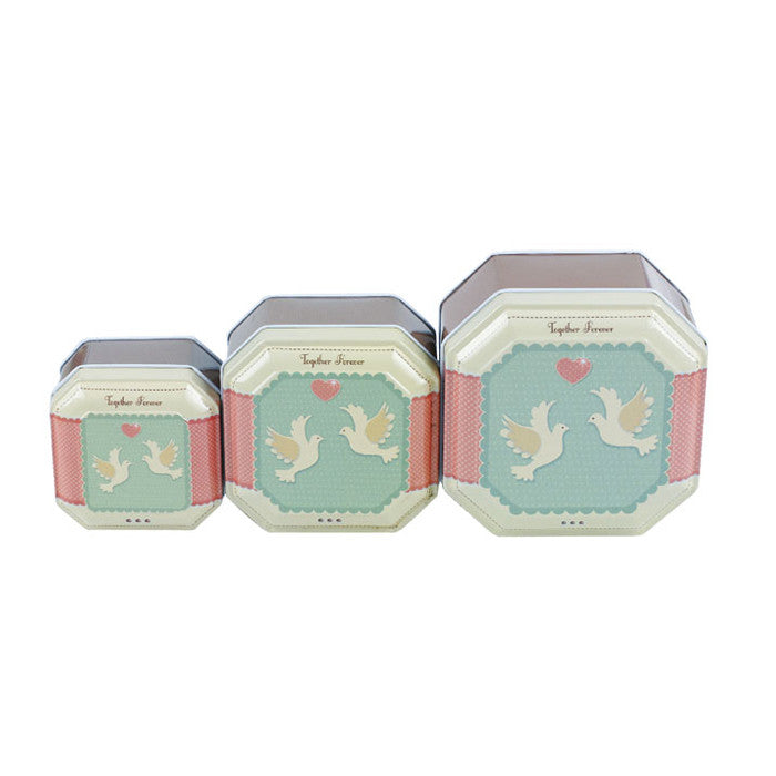 Square Step Lid Stackable Storage Tin - Set of 3 - Ld Packagingmall
