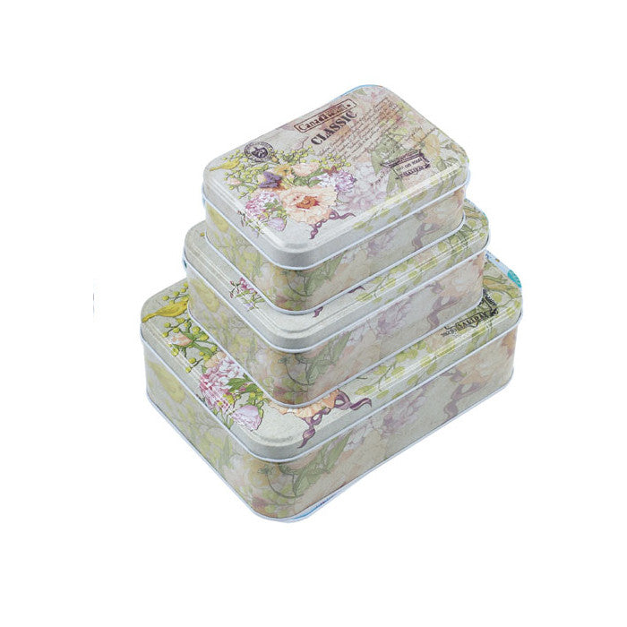 Rectangular Slip Lid Stackable Storage Tin - Set of 3 - Ld Packagingmall
