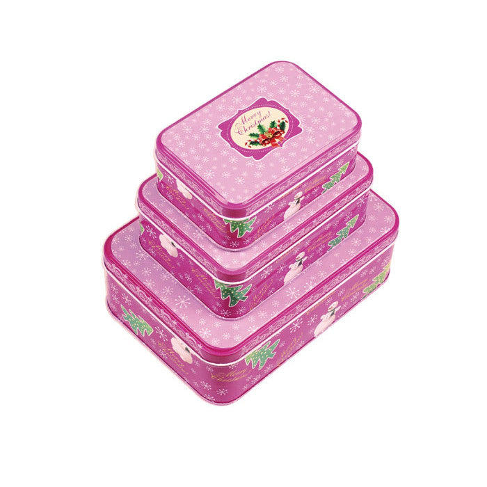 Rectangular Slip Lid Christmas Gifts Stackable Storage Tin - Set of 3 - Ld Packagingmall