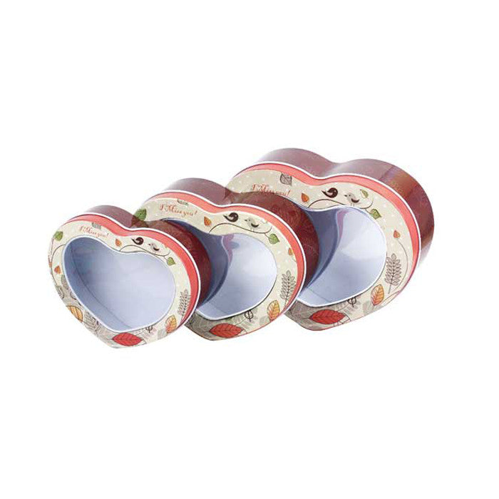 Heart Shaped Window Lid Stackable Storage Tin - Set of 3 - Ld Packagingmall