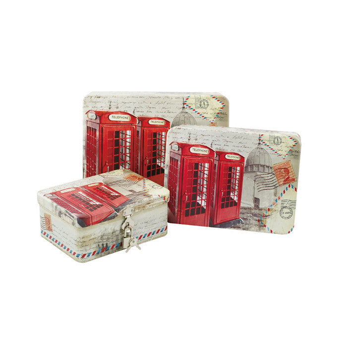 Rectangular Solid Lid Stackable Storage Tin with Lock - Set of 3 - Ld Packagingmall