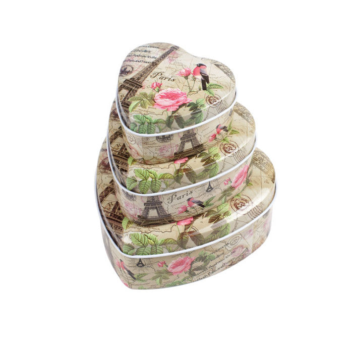 Heart Shaped Slip Lid Stackable Storage Tin -Set of 3 - Ld Packagingmall