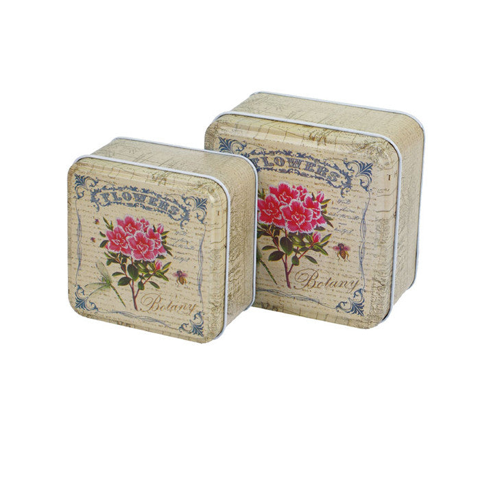 Square Slip Lid Storage Tin - Set of 2 - Ld Packagingmall