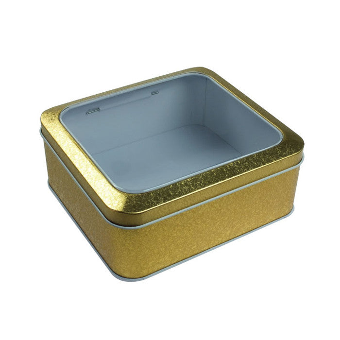 Square Window Lid Storage Tin