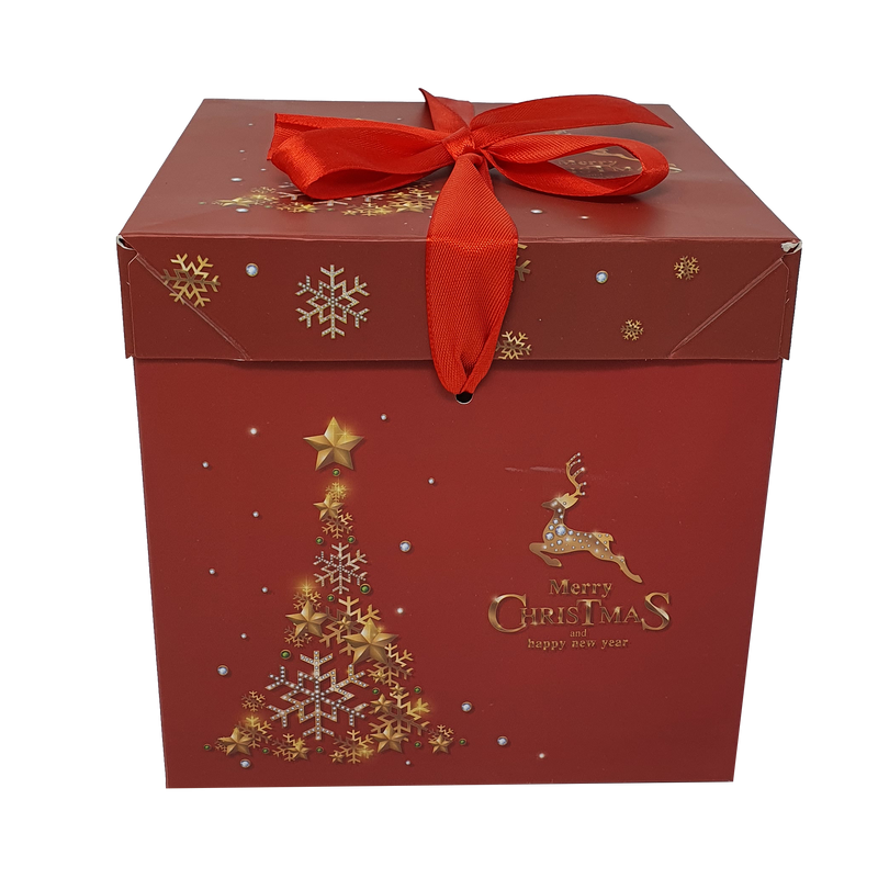 10pcs Folding Printed Christmas Patten Gift Box With Ribbon