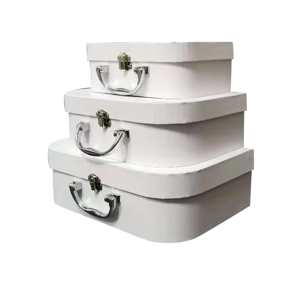 Box of 5pcs/Plain Ivory White Cardboard Suitcase Gift Box With Metal Handle Set