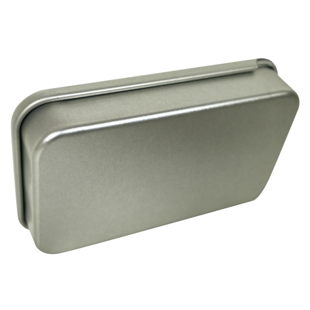 Silver Rectangular Tin Box with Sliding Lid/Item ref: RMTB0014