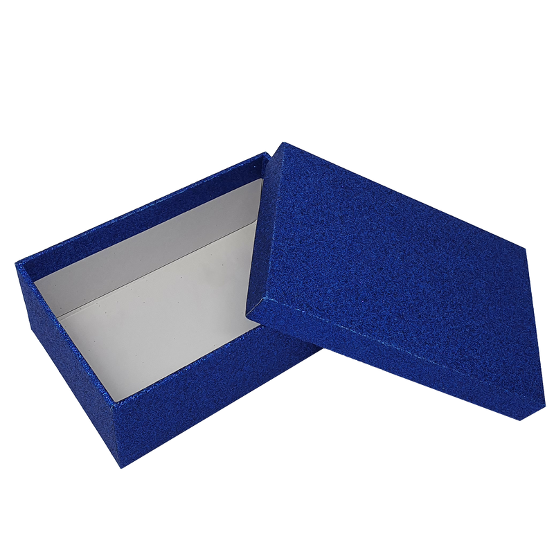 Blue Rectangular Sparkly Glitter Rigid Stacking Gift Boxes