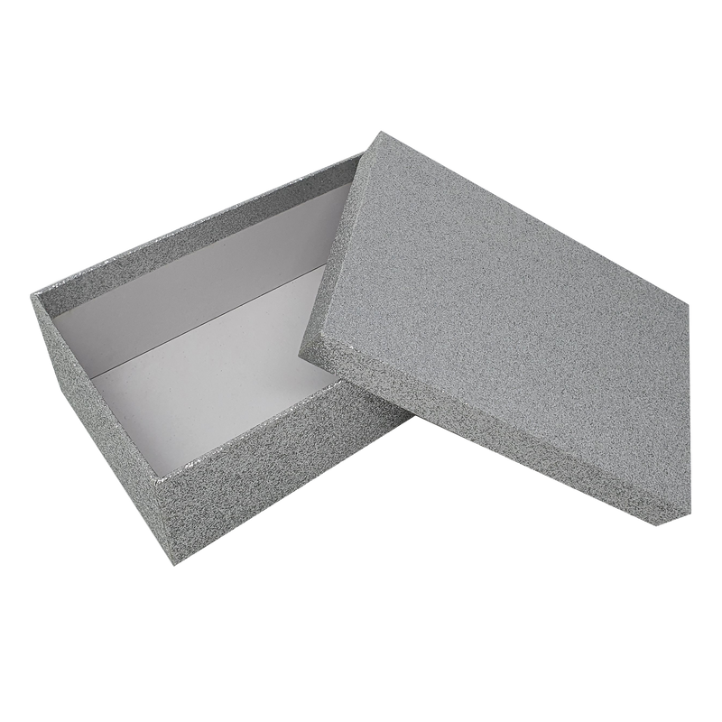Silver Rectangular Sparkly Glitter Rigid Stacking Gift Boxes