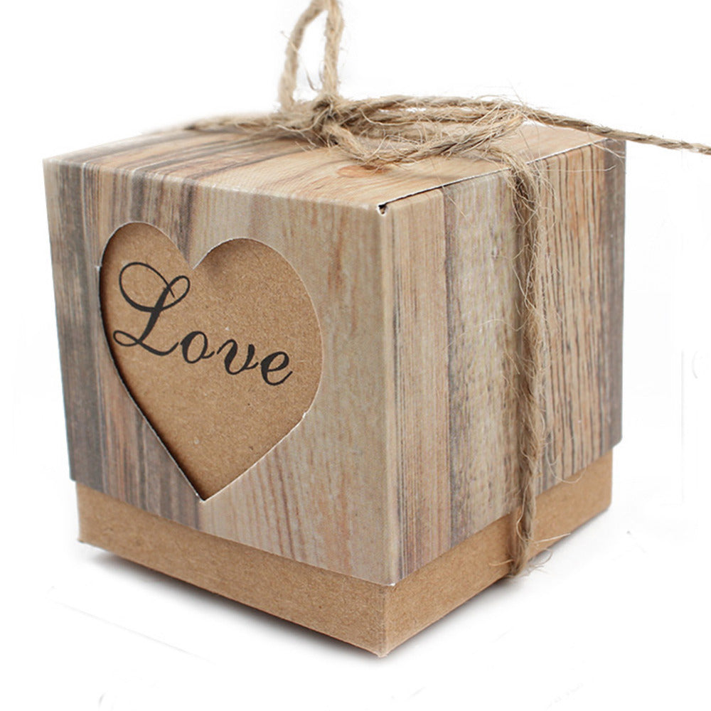 10PCS/Handmade Kraft Paper Gift Box with Heart Shape - Ld Packagingmall