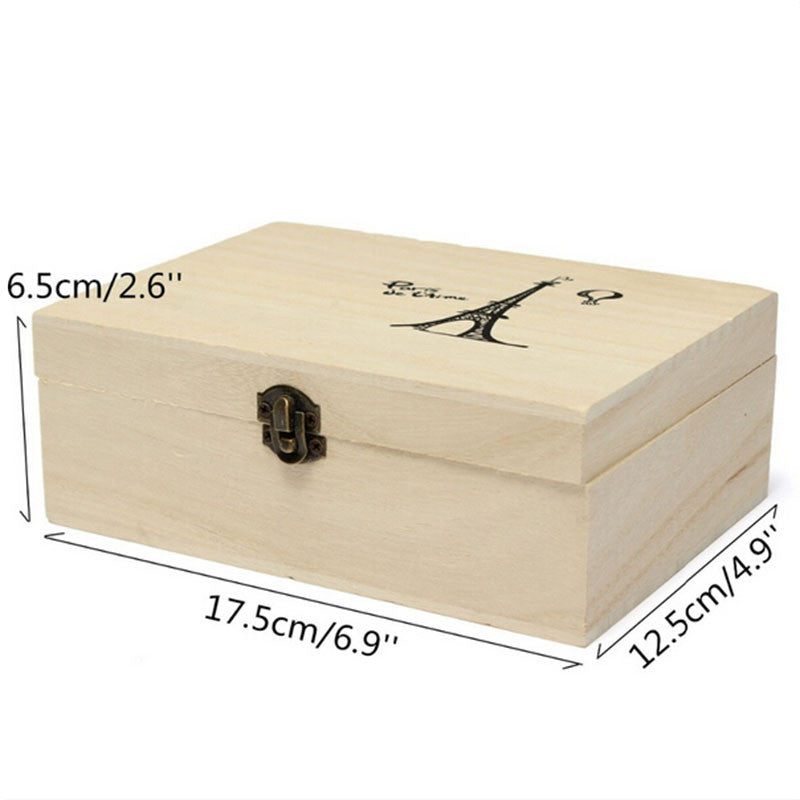 Storage Box Natural Wooden With Lid Golden Lock - Ld Packagingmall