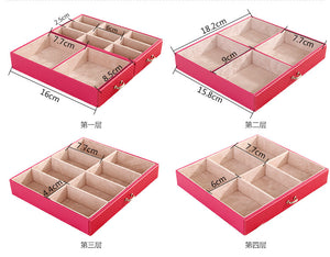 Large five - layer leather cosmetics storage box - Ld Packagingmall