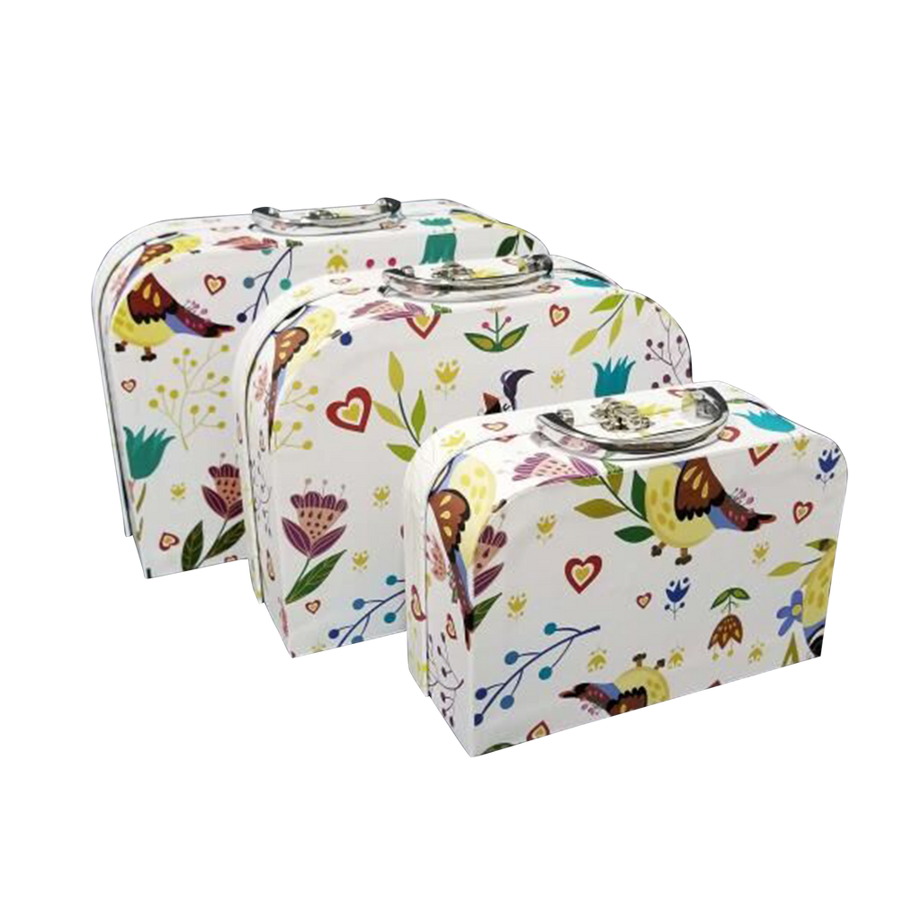 Box of 5/Printed Cardboard Suitcase Gift Box With Metal Handle Set