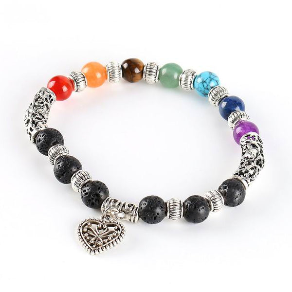 7 Chakra Lava Healing Stone Diffuser Bracelet with Heart Charm - Antique Silver Plate