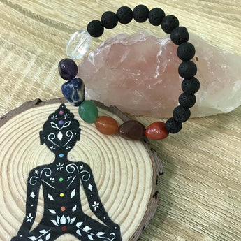 7 Chakra Tumbled Stone and Lava Healing Stone Diffuser Bracelet - LIMITED EDITION