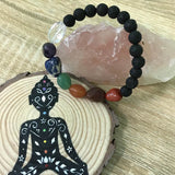 7 Chakra Tumbled Stone (10mm) and Lava Healing Stone Diffuser Bracelet - LIMITED EDITION
