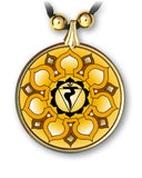 Solar Plexus Chakra Sanskrit Mandala Pendant and Earrings - handcrafted by Hermit Studios