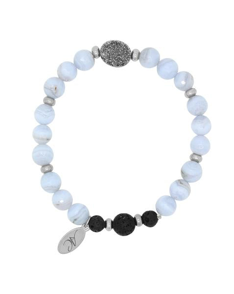 Blue Lace Agate with Oval Druzy Lava Diffuser Bracelet - Aroma Couture - Gift Idea