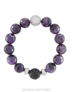 Amethyst and Lava Gemstone Diffuser Bracelet - Aroma Couture™
