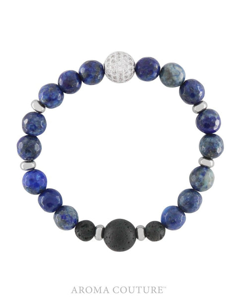 Ladies Blue Lapis Lazuli and Lava Healing Gemstone Aroma Diffuser Bracelet handmade by Aroma Couture