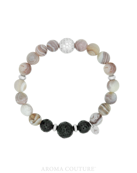 Ladies Botswana Agate and Lava Aroma Gemstone Diffuser Bracelet handmade by Aroma Couture |