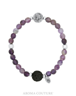 Ladies Druzy Amethyst and Lava Healing Gemstone Diffuser Bracelet handmade by Aroma Couture |