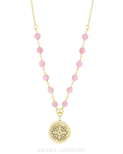 "Clarissa Rose Quartz Diffuser Necklace 30"" - Aroma Couture™"