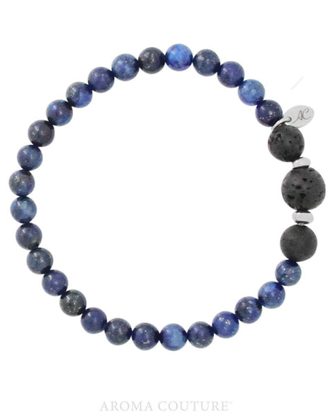 Gent's Blue Lapis Lazuli and Lava Gemstone Diffuser Bracelet by Aroma Couture