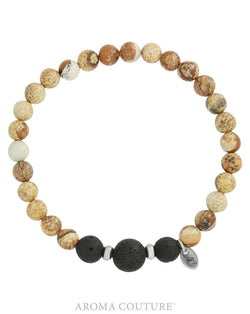 Gent's Picture Jasper and Lava Diffuser Bracelet by Aroma Couture