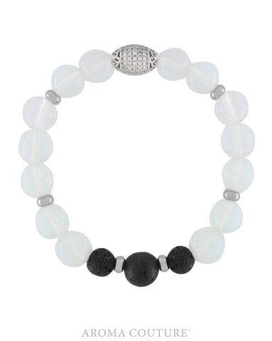 Opalite and Lava Diffuser Bracelet - Aroma Couture - Gift Idea