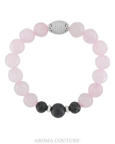 Ladies Rose Quartz and Lava Healing Gemstone Diffuser Bracelet handmade by Aroma Coutur