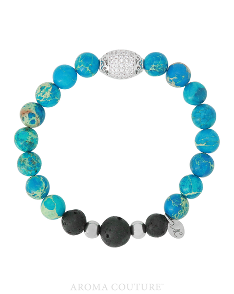 Ocean Blue Jasper Lava Diffuser Bracelet by Aroma Couture