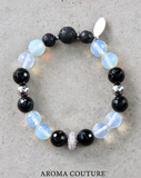 Ladies handmade Black Onyx and Opalite Statement Lava Aromatherapy Diffuser Bracelet