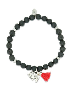 Ladies Elephant and Black Onyx Lava Diffuser Bracelet by Aroma Couture