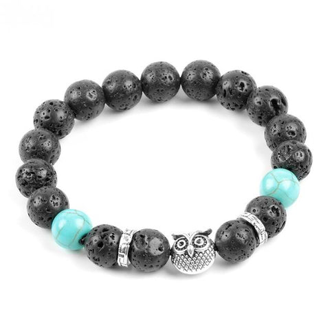 Turquoise Gemstone and Lava Healing Stone Diffuser Bracelet  - three designs