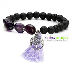 Brow (Third Eye)  Chakra Tumbled Stone and Lava Healing Stone Diffuser Bracelet - LIMITED EDITION